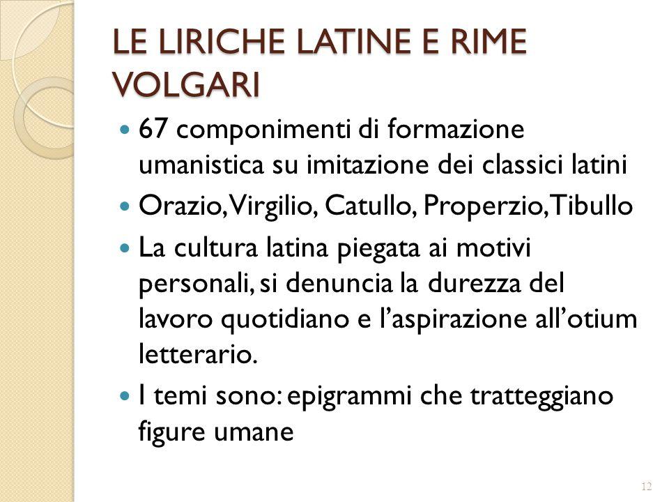 LE LIRICHE LATINE E RIME VOLGARI