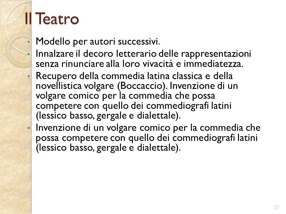 Il Teatro Modello per autori successivi.