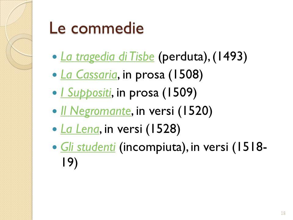 Le commedie La tragedia di Tisbe (perduta), (1493)