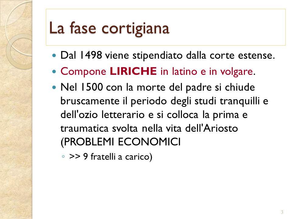 La fase cortigiana Dal 1498 viene stipendiato dalla corte estense.