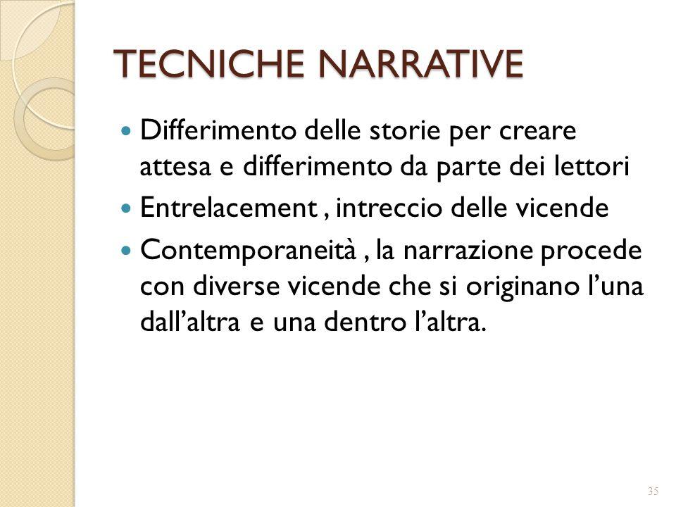 TECNICHE NARRATIVE Differimento delle storie per creare attesa e differimento da parte dei lettori.