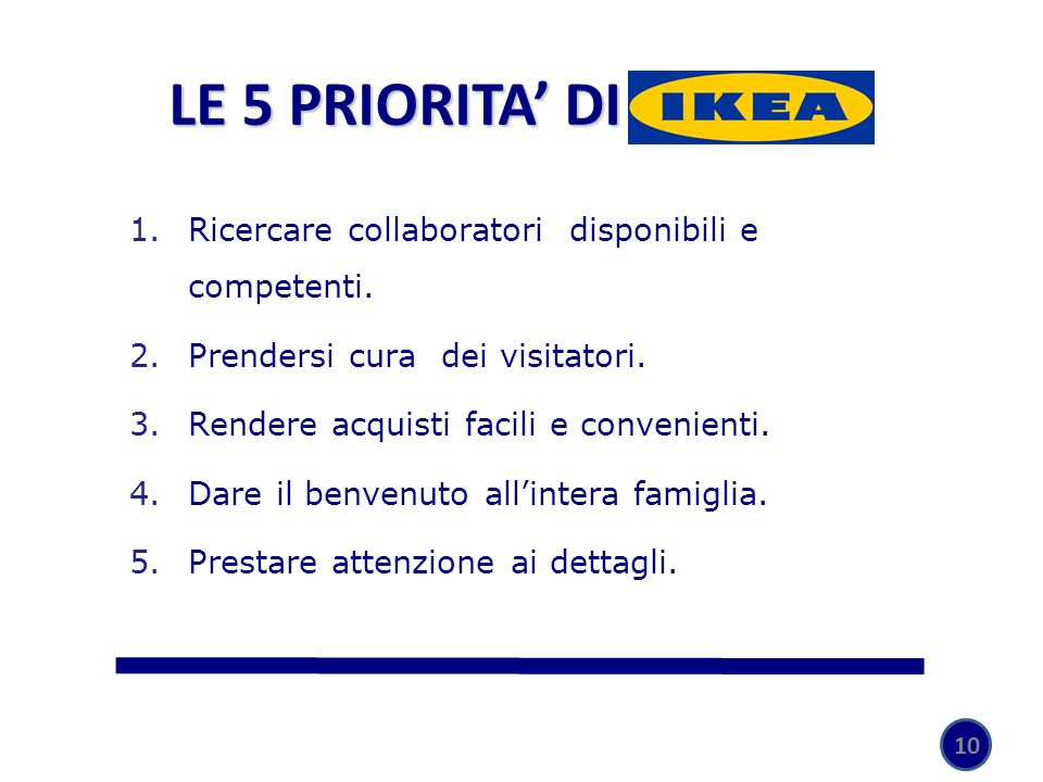 LE 5 PRIORITA' DI IKEA Ricercare collaboratori disponibili e competenti. Prendersi cura dei visitatori.