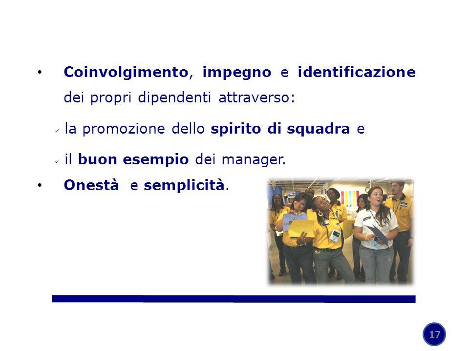 la promozione dello spirito di squadra e il buon esempio dei manager.