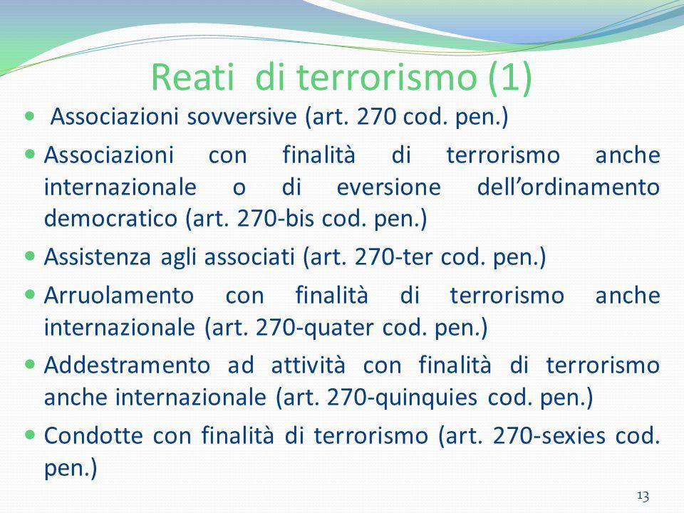 Reati di terrorismo (1) Associazioni sovversive (art. 270 cod. pen.)