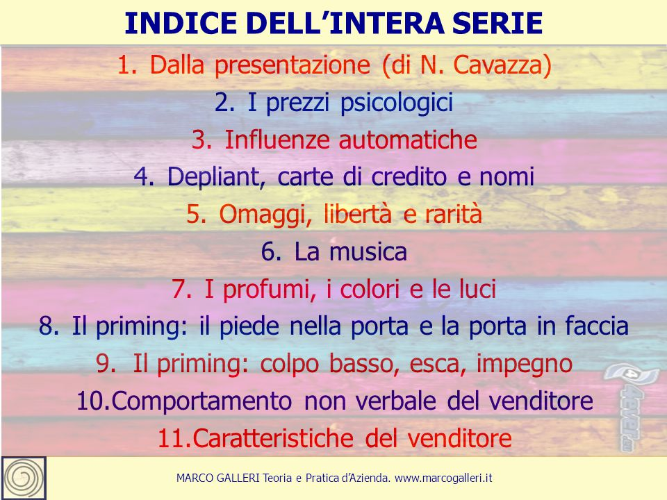 INDICE DELL'INTERA SERIE
