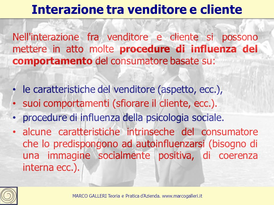 Interazione tra venditore e cliente