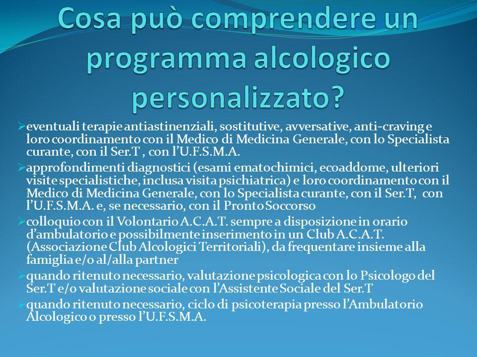 Cosa può comprendere un programma alcologico personalizzato