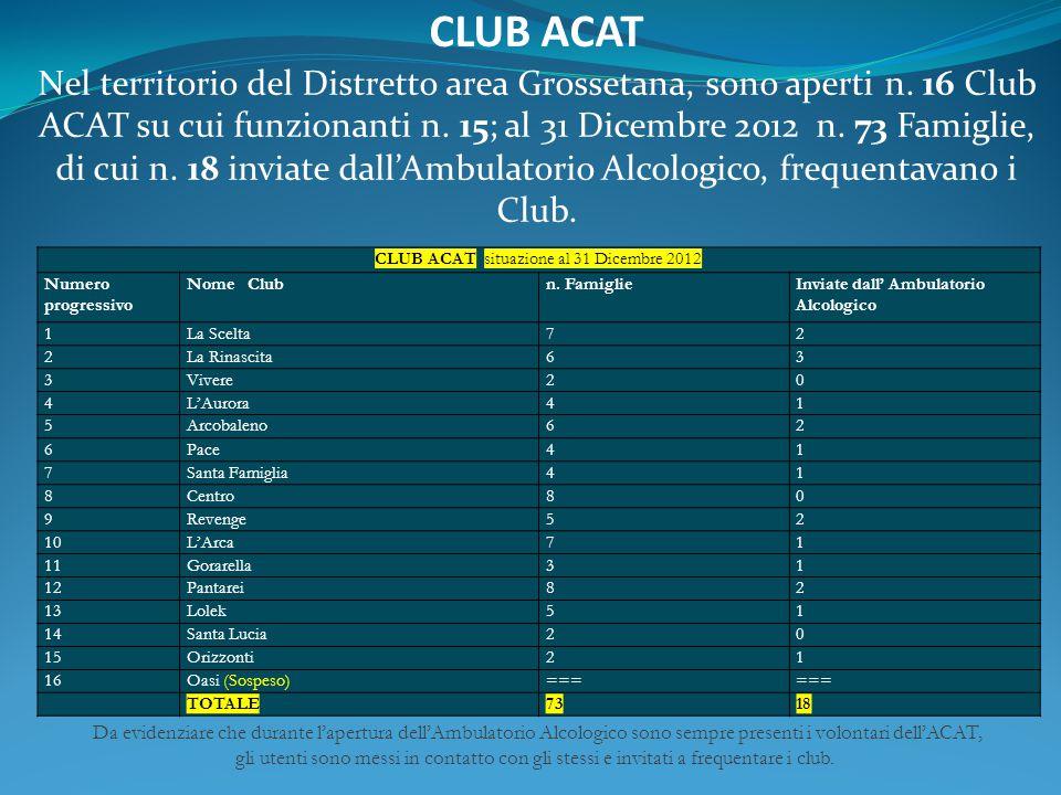 CLUB ACAT situazione al 31 Dicembre 2012