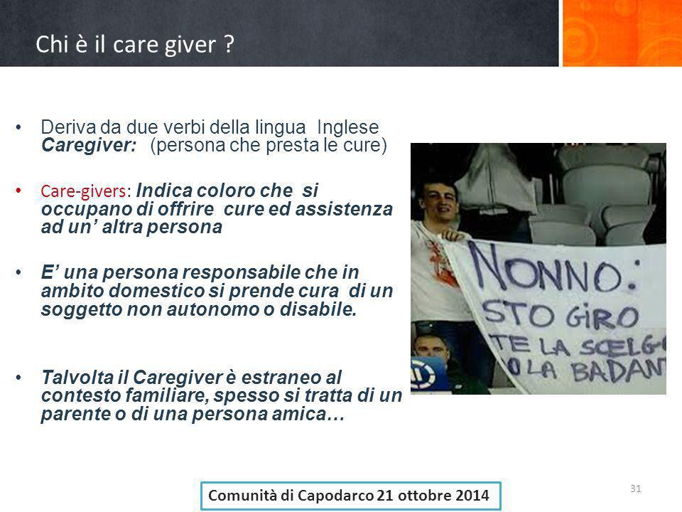 Chi è il care giver Deriva da due verbi della lingua Inglese Caregiver: (persona che presta le cure)