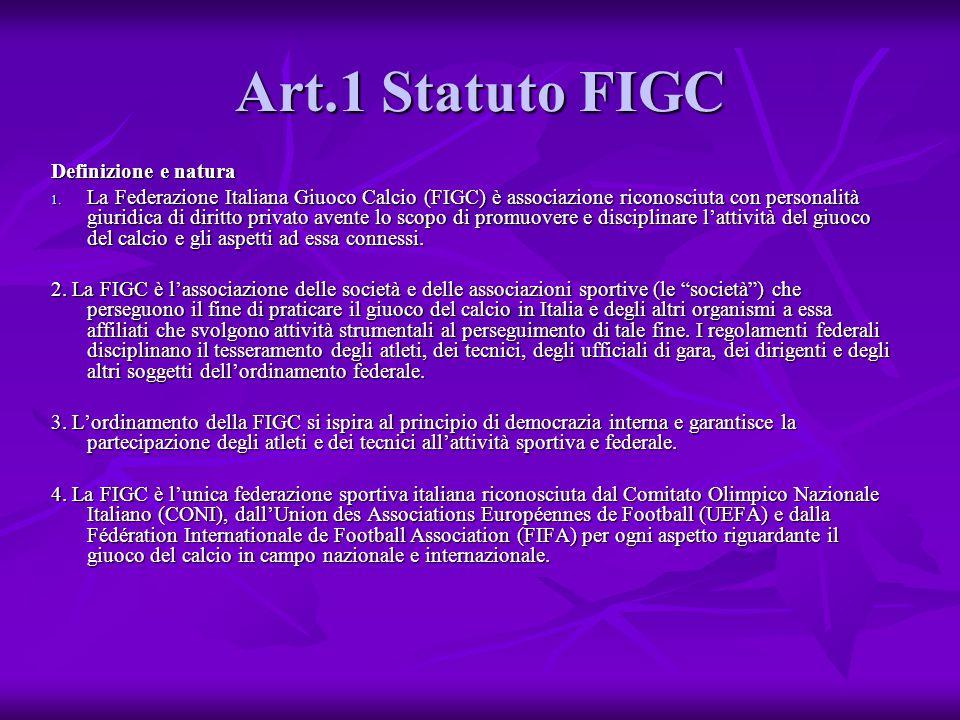Art.1 Statuto FIGC Definizione e natura