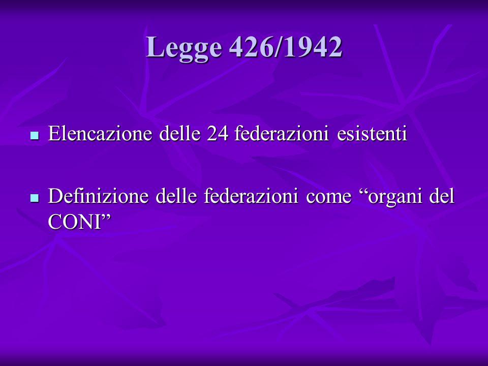 Legge 426/1942 Elencazione delle 24 federazioni esistenti