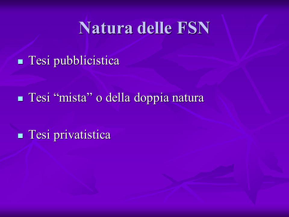 Natura delle FSN Tesi pubblicistica Tesi mista o della doppia natura