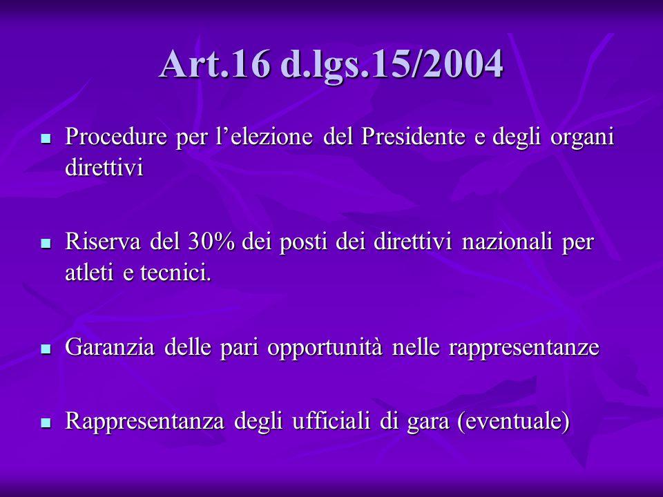 Art.16 d.lgs.15/2004 Procedure per l'elezione del Presidente e degli organi direttivi.
