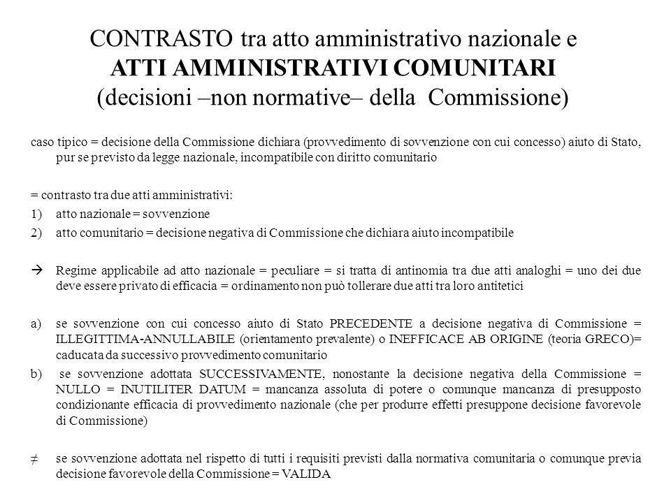 CONTRASTO tra atto amministrativo nazionale e ATTI AMMINISTRATIVI COMUNITARI (decisioni –non normative– della Commissione)