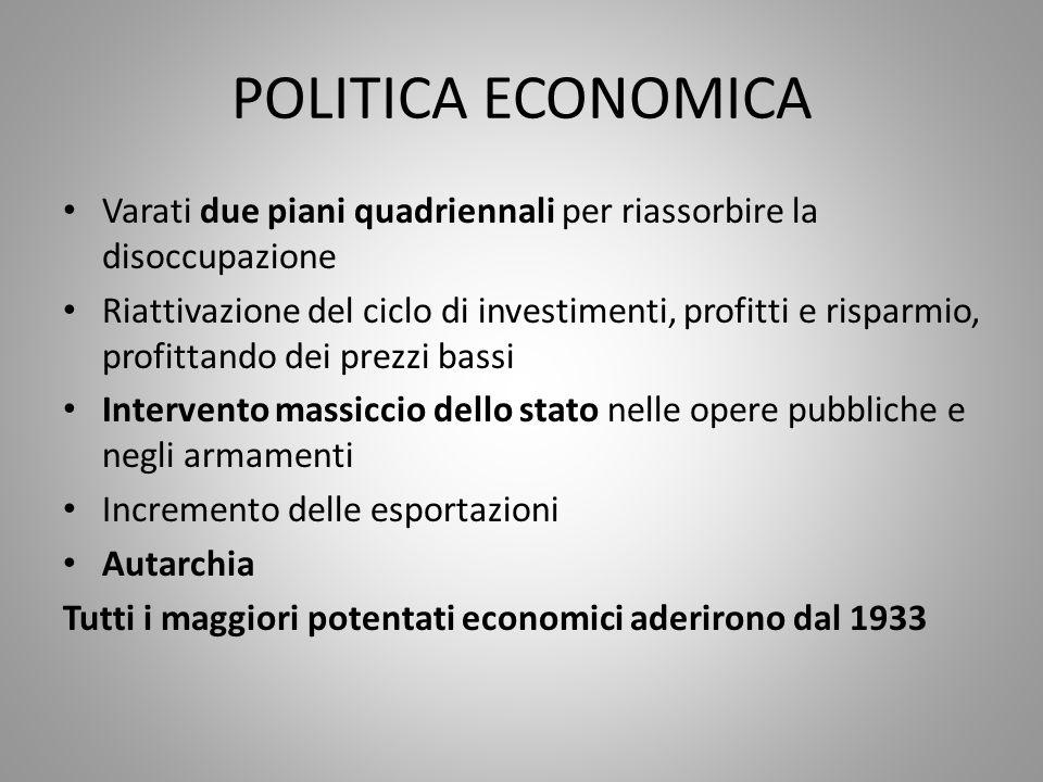 POLITICA ECONOMICA Varati due piani quadriennali per riassorbire la disoccupazione.