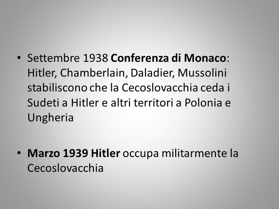 Settembre 1938 Conferenza di Monaco: Hitler, Chamberlain, Daladier, Mussolini stabiliscono che la Cecoslovacchia ceda i Sudeti a Hitler e altri territori a Polonia e Ungheria