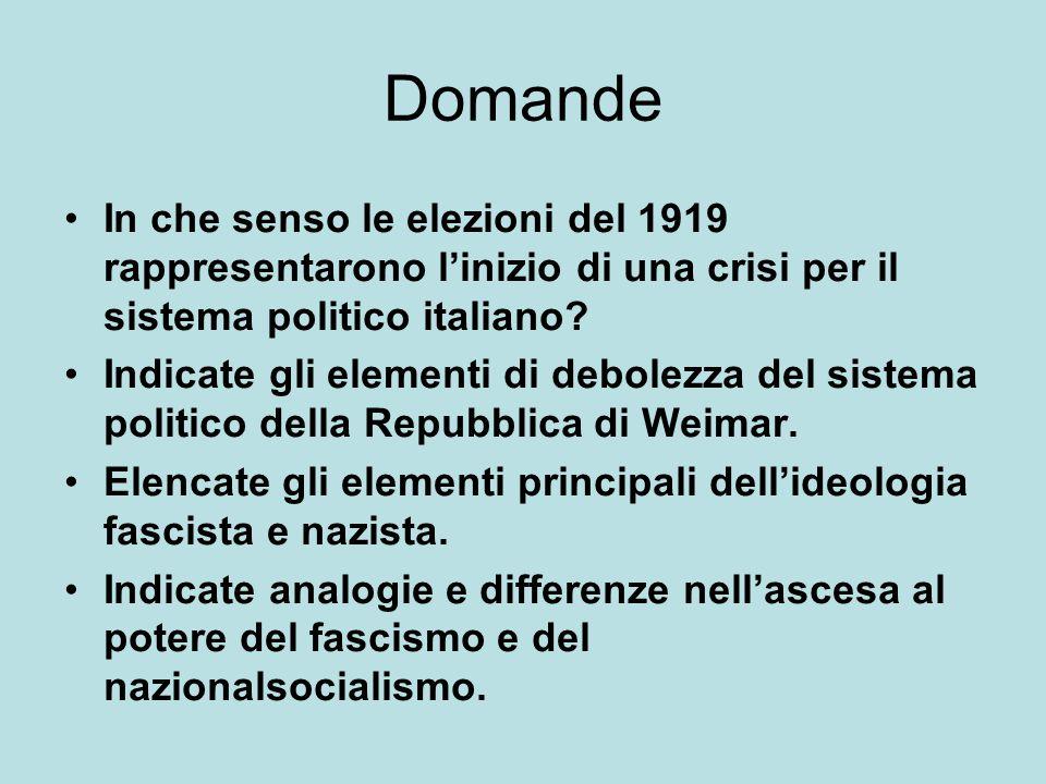 Domande In che senso le elezioni del 1919 rappresentarono l'inizio di una crisi per il sistema politico italiano