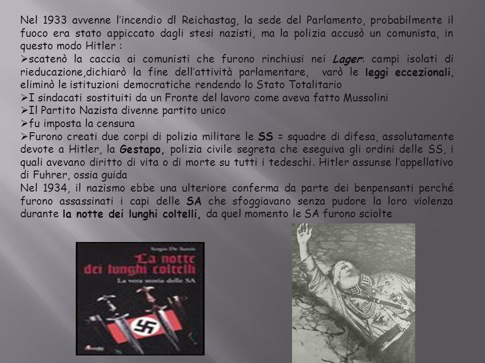 Nel 1933 avvenne l'incendio dl Reichastag, la sede del Parlamento, probabilmente il fuoco era stato appiccato dagli stesi nazisti, ma la polizia accusò un comunista, in questo modo Hitler :