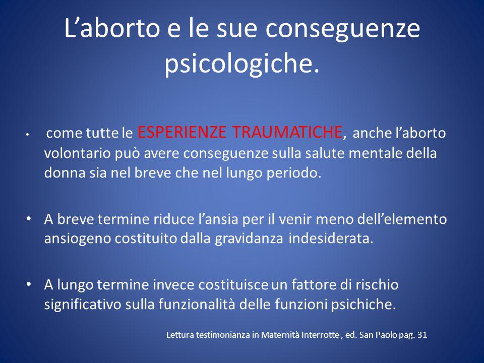 L'aborto e le sue conseguenze psicologiche.