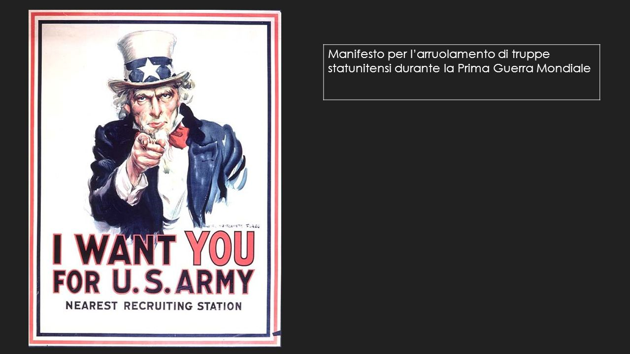 Manifesto per l'arruolamento di truppe statunitensi durante la Prima Guerra Mondiale