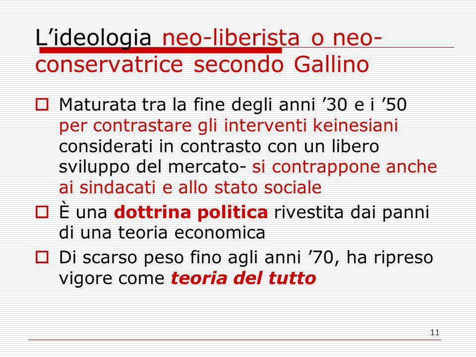 L'ideologia neo-liberista o neo-conservatrice secondo Gallino