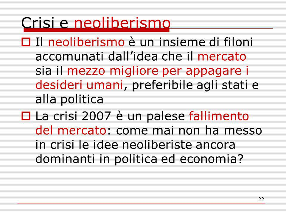 Crisi e neoliberismo