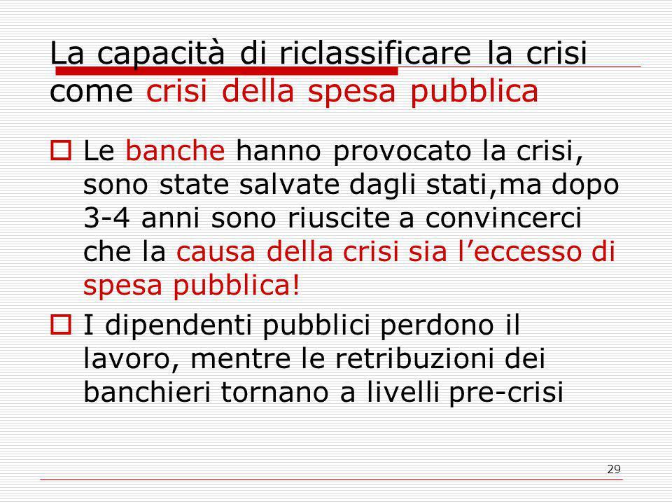 La capacità di riclassificare la crisi come crisi della spesa pubblica