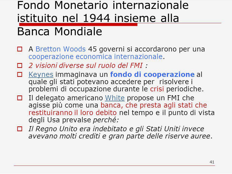 Fondo Monetario internazionale istituito nel 1944 insieme alla Banca Mondiale
