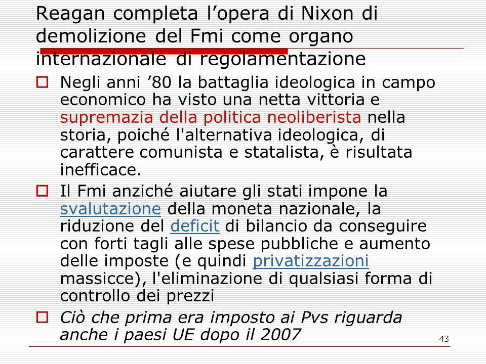 Reagan completa l'opera di Nixon di demolizione del Fmi come organo internazionale di regolamentazione