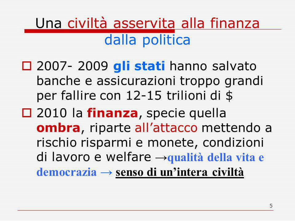 Una civiltà asservita alla finanza dalla politica