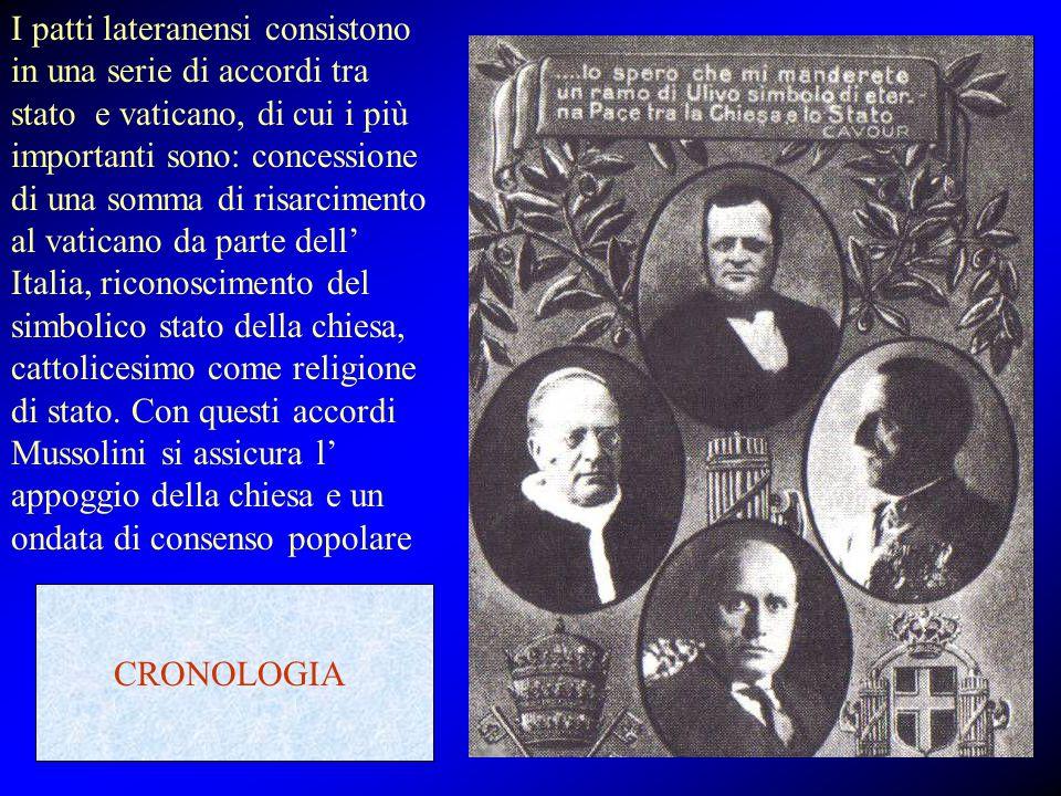 I patti lateranensi consistono in una serie di accordi tra stato e vaticano, di cui i più importanti sono: concessione di una somma di risarcimento al vaticano da parte dell' Italia, riconoscimento del simbolico stato della chiesa, cattolicesimo come religione di stato. Con questi accordi Mussolini si assicura l' appoggio della chiesa e un ondata di consenso popolare