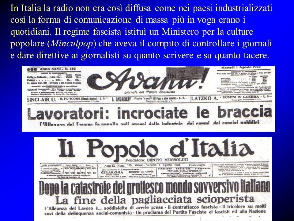 In Italia la radio non era così diffusa come nei paesi industrializzati così la forma di comunicazione di massa più in voga erano i quotidiani.