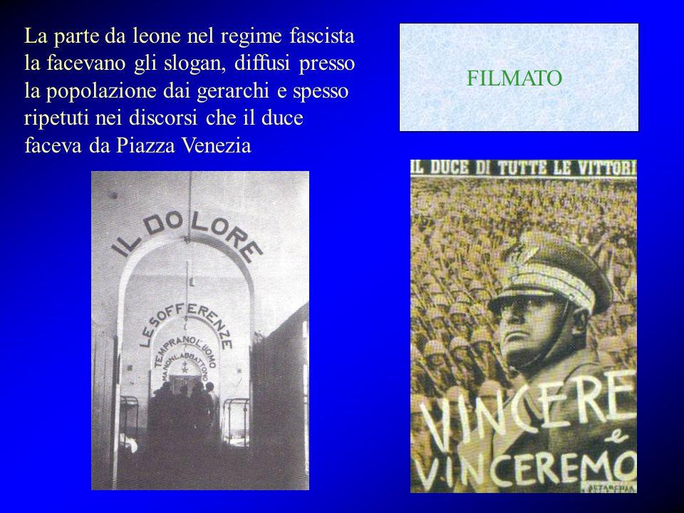 La parte da leone nel regime fascista la facevano gli slogan, diffusi presso la popolazione dai gerarchi e spesso ripetuti nei discorsi che il duce faceva da Piazza Venezia