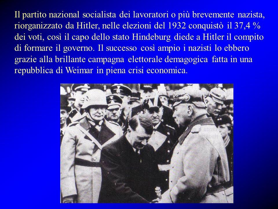 Il partito nazional socialista dei lavoratori o più brevemente nazista, riorganizzato da Hitler, nelle elezioni del 1932 conquistò il 37,4 % dei voti, così il capo dello stato Hindeburg diede a Hitler il compito di formare il governo.