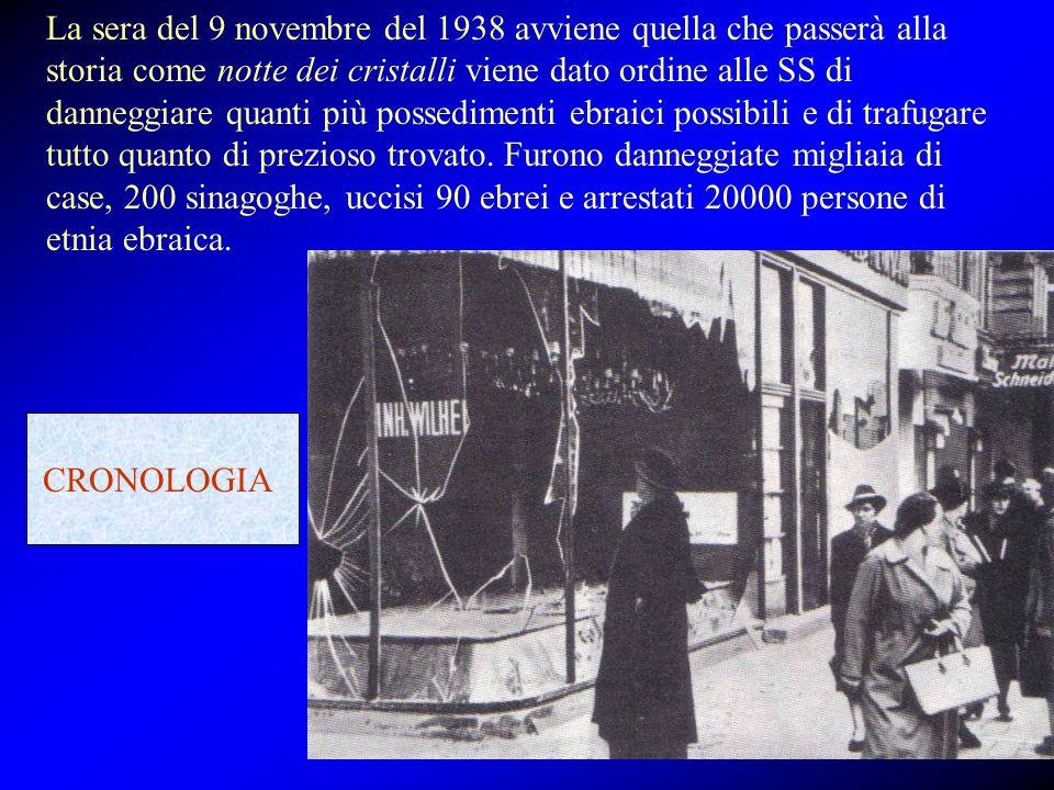 La sera del 9 novembre del 1938 avviene quella che passerà alla storia come notte dei cristalli viene dato ordine alle SS di danneggiare quanti più possedimenti ebraici possibili e di trafugare tutto quanto di prezioso trovato. Furono danneggiate migliaia di case, 200 sinagoghe, uccisi 90 ebrei e arrestati 20000 persone di etnia ebraica.