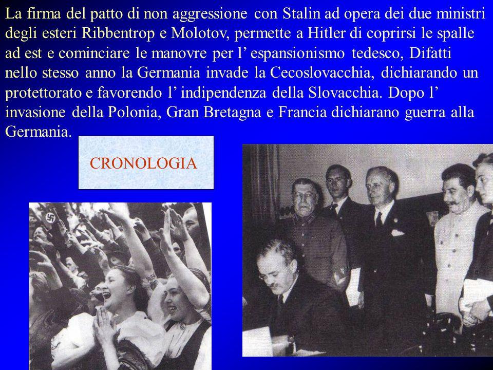 La firma del patto di non aggressione con Stalin ad opera dei due ministri degli esteri Ribbentrop e Molotov, permette a Hitler di coprirsi le spalle ad est e cominciare le manovre per l' espansionismo tedesco, Difatti nello stesso anno la Germania invade la Cecoslovacchia, dichiarando un protettorato e favorendo l' indipendenza della Slovacchia. Dopo l' invasione della Polonia, Gran Bretagna e Francia dichiarano guerra alla Germania.