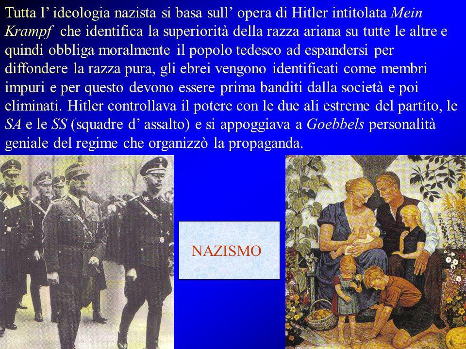 Tutta l' ideologia nazista si basa sull' opera di Hitler intitolata Mein Krampf che identifica la superiorità della razza ariana su tutte le altre e quindi obbliga moralmente il popolo tedesco ad espandersi per diffondere la razza pura, gli ebrei vengono identificati come membri impuri e per questo devono essere prima banditi dalla società e poi eliminati. Hitler controllava il potere con le due ali estreme del partito, le SA e le SS (squadre d' assalto) e si appoggiava a Goebbels personalità geniale del regime che organizzò la propaganda.