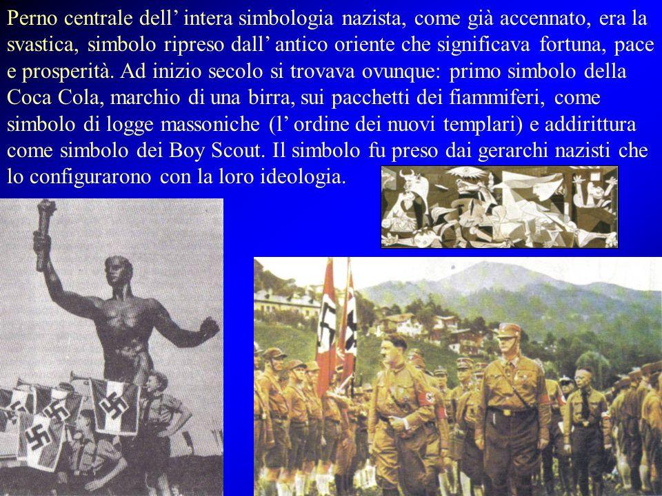 Perno centrale dell' intera simbologia nazista, come già accennato, era la svastica, simbolo ripreso dall' antico oriente che significava fortuna, pace e prosperità.