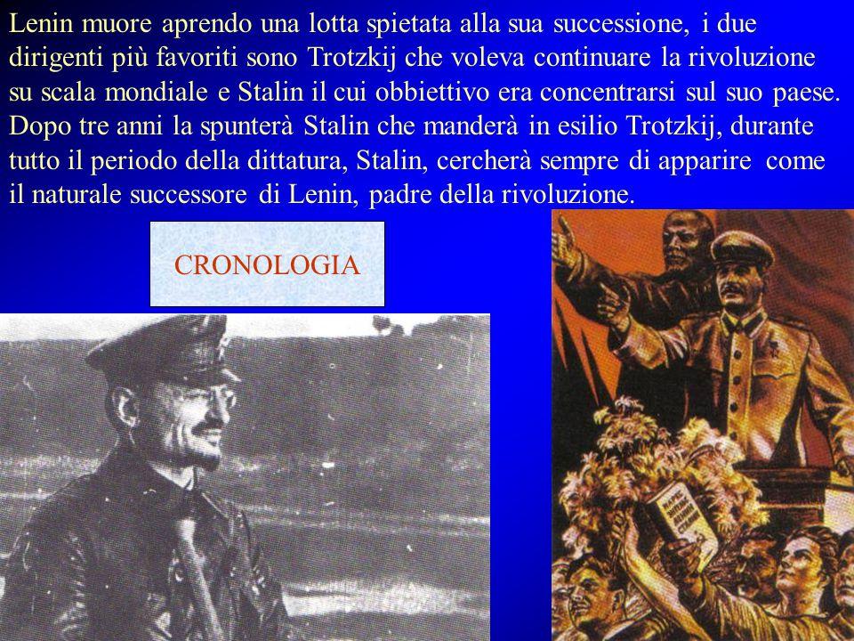 Lenin muore aprendo una lotta spietata alla sua successione, i due dirigenti più favoriti sono Trotzkij che voleva continuare la rivoluzione su scala mondiale e Stalin il cui obbiettivo era concentrarsi sul suo paese. Dopo tre anni la spunterà Stalin che manderà in esilio Trotzkij, durante tutto il periodo della dittatura, Stalin, cercherà sempre di apparire come il naturale successore di Lenin, padre della rivoluzione.