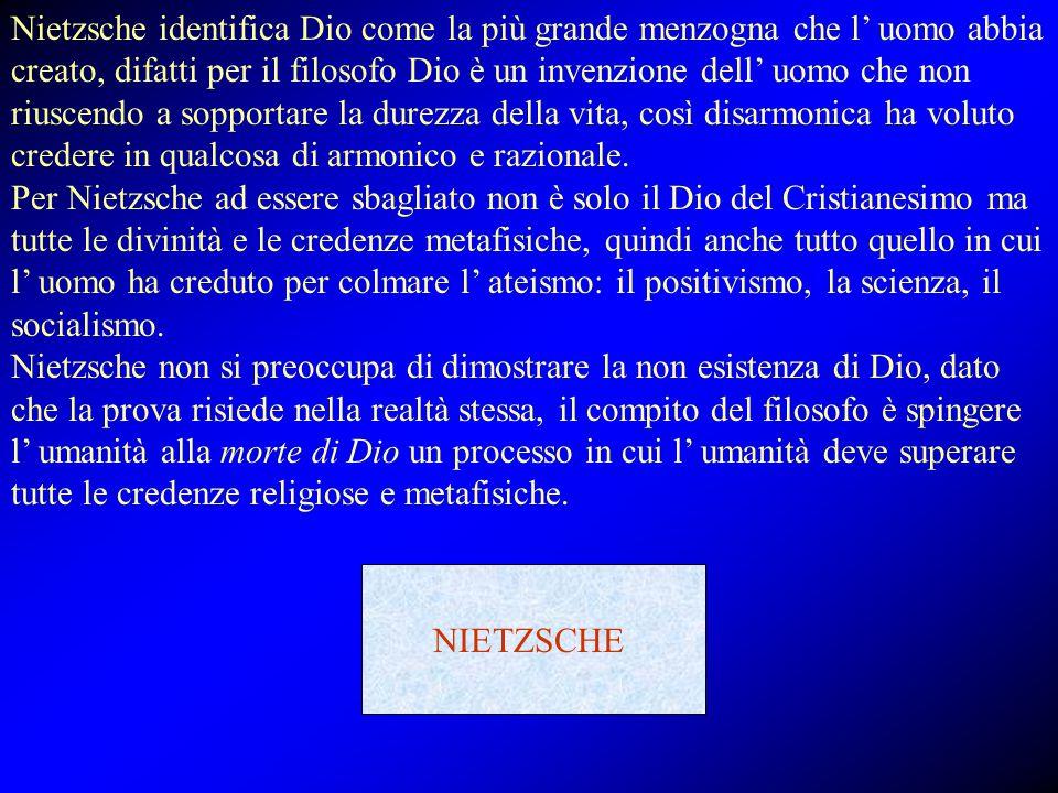 Nietzsche identifica Dio come la più grande menzogna che l' uomo abbia creato, difatti per il filosofo Dio è un invenzione dell' uomo che non riuscendo a sopportare la durezza della vita, così disarmonica ha voluto credere in qualcosa di armonico e razionale. Per Nietzsche ad essere sbagliato non è solo il Dio del Cristianesimo ma tutte le divinità e le credenze metafisiche, quindi anche tutto quello in cui l' uomo ha creduto per colmare l' ateismo: il positivismo, la scienza, il socialismo. Nietzsche non si preoccupa di dimostrare la non esistenza di Dio, dato che la prova risiede nella realtà stessa, il compito del filosofo è spingere l' umanità alla morte di Dio un processo in cui l' umanità deve superare tutte le credenze religiose e metafisiche.