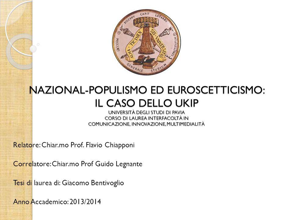 NAZIONAL-POPULISMO ED EUROSCETTICISMO: IL CASO DELLO UKIP UNIVERSITÀ DEGLI STUDI DI PAVIA CORSO DI LAUREA INTERFACOLTÀ IN COMUNICAZIONE, INNOVAZIONE, MULTIMEDIALITÀ
