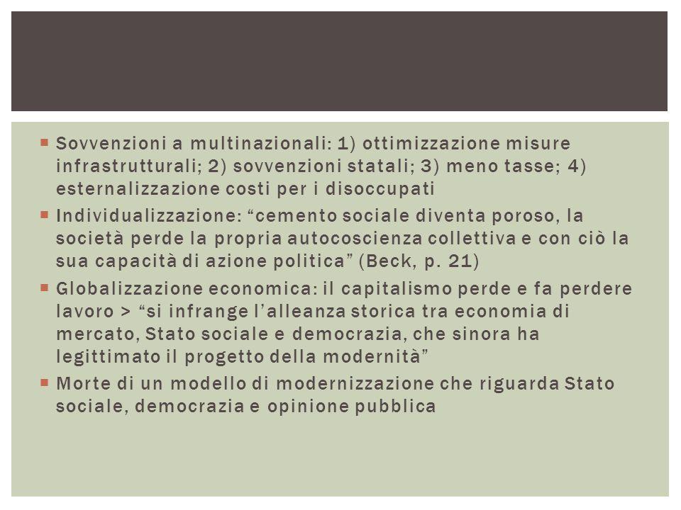 Sovvenzioni a multinazionali: 1) ottimizzazione misure infrastrutturali; 2) sovvenzioni statali; 3) meno tasse; 4) esternalizzazione costi per i disoccupati