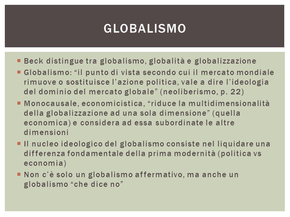 Globalismo Beck distingue tra globalismo, globalità e globalizzazione