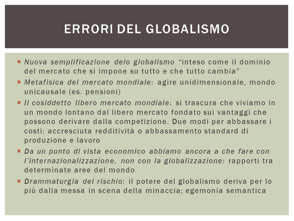 Errori del globalismo Nuova semplificazione delo globalismo inteso come il dominio del mercato che si impone su tutto e che tutto cambia