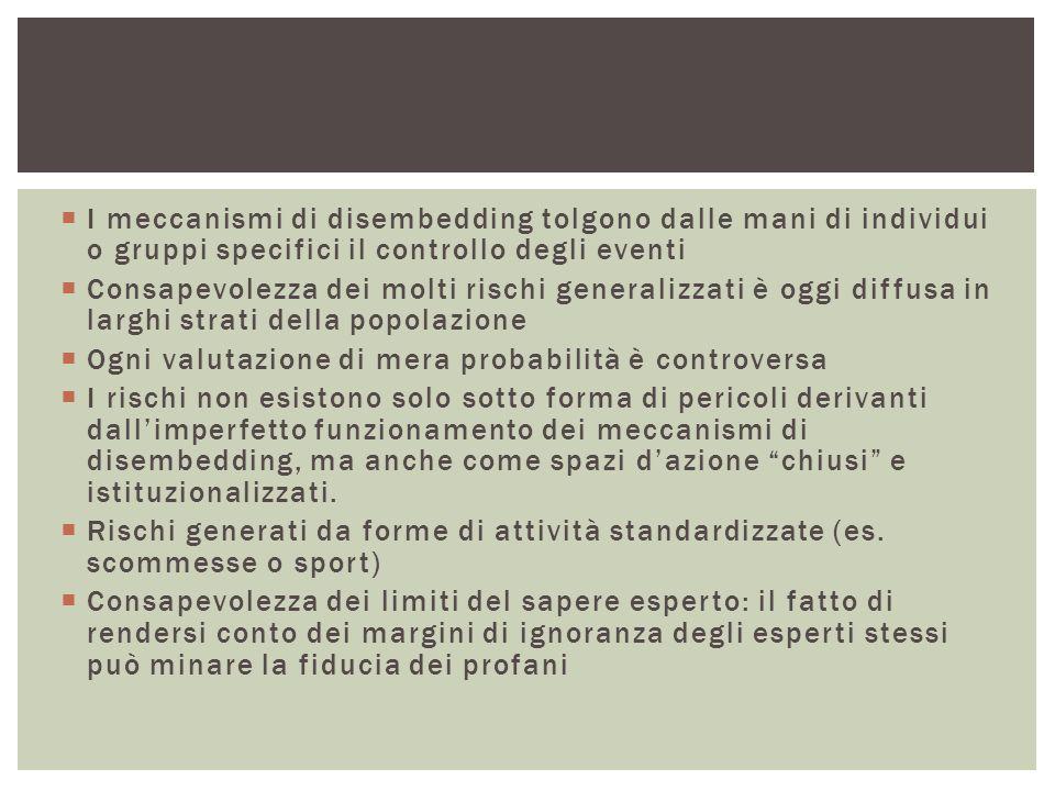 I meccanismi di disembedding tolgono dalle mani di individui o gruppi specifici il controllo degli eventi