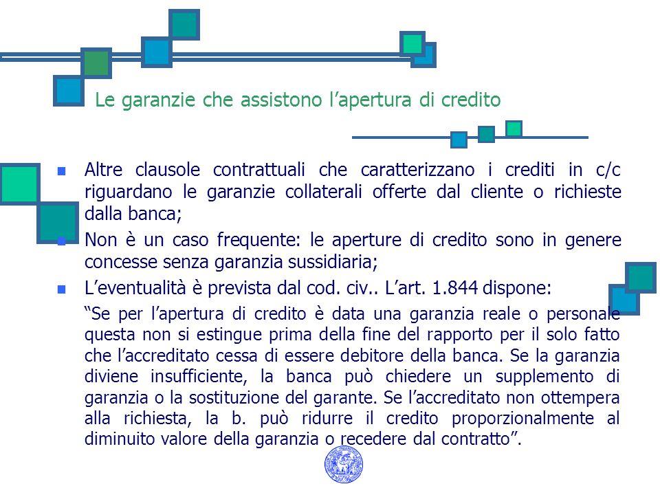 Le garanzie che assistono l'apertura di credito