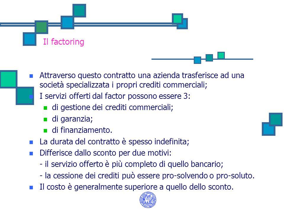 Il factoring Attraverso questo contratto una azienda trasferisce ad una società specializzata i propri crediti commerciali;