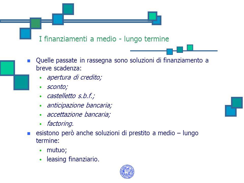 I finanziamenti a medio - lungo termine