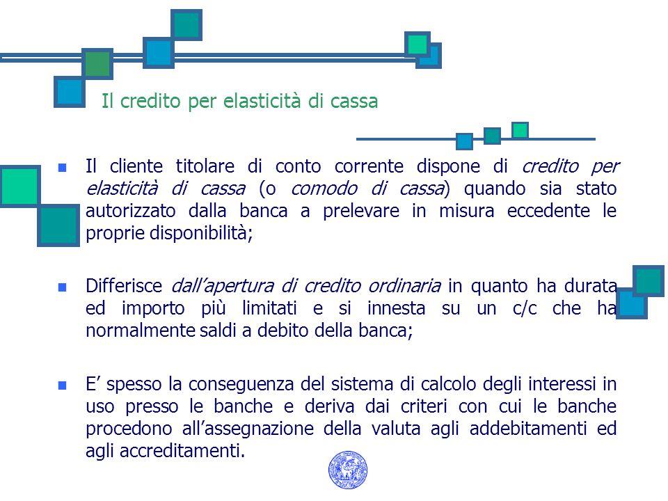Il credito per elasticità di cassa