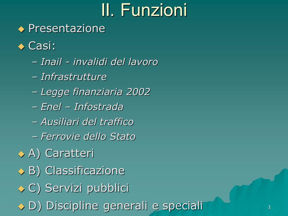 II. Funzioni Presentazione Casi: A) Caratteri B) Classificazione